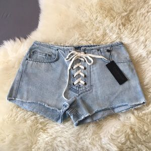 Carmar by LF Lace Up Jean Shorts